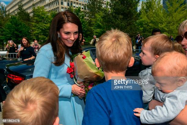 Britain's Catherine Duchess of Cambridge smiles as she arrives with Hereditary Grand Duchesse of Luxembourg during the Celebration of the 150th...