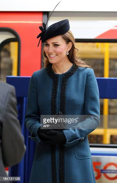 Britain's Catherine Duchess of Cambridge visits Baker Street tube station with Queen Elizabeth II and Prince Philip Duke of Edinburgh in London on...
