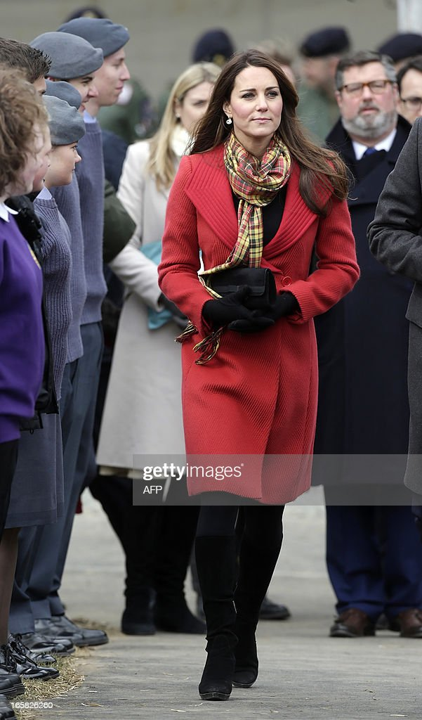 Britain's Catherine, Duchess of Cambridge, visits Dumfries House in Ayrshire, Scotland, on April 5, 2013. The Duke and Duchess of Cambridge braved the bitter cold to attend with Prince of Wales the official opening of the Tamar Manoukin Outdoor Centre.