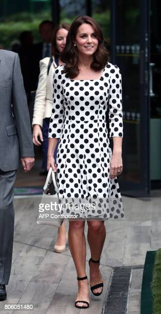Britain's Catherine Duchess of Cambridge visits The All England Lawn Tennis Club in Wimbledon southwest London on July 3 2017 on the first day of the...