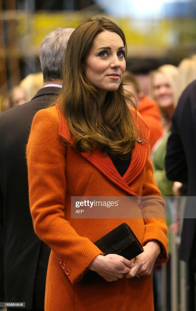 Britain's Catherine, Duchess of Cambridge visits the Astute-class Submarine Building at BAE Systems in Barrow-in-Furness, Cumbria, northern England, on April 5, 2013. The Duke of Cambridge is Commodore-in-Chief of the Royal Navy Submarine Service and during their visit they toured the offices of Vanguard replacement programme and meet with the crew of Artful and their families, who are now based in Barrow.