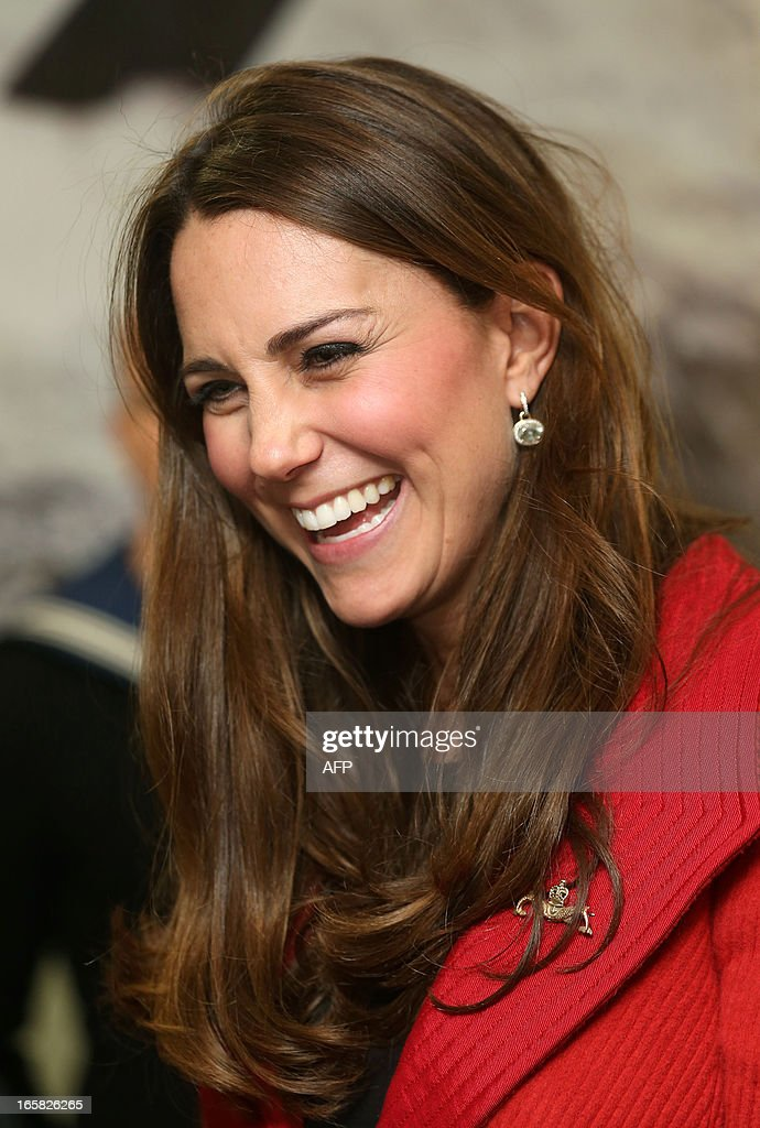 Britain's Catherine, Duchess of Cambridge, visits to the the Astute-class Submarine Building at BAE Systems in Barrow-in-Furness, Cumbria, northern England, on April 5, 2013. The Duke of Cambridge is Commodore-in-Chief of the Royal Navy Submarine Service and during their visit they toured the offices of Vanguard replacement programme and meet with the crew of Artful and their families, who are now based in Barrow. AFP PHOTO/POOL/CHRIS JACKSON
