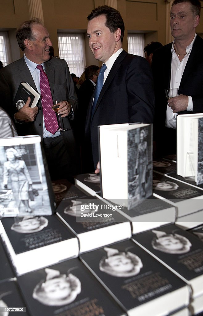 Britain's Chancellor of the Exchequer <a gi-track='captionPersonalityLinkClicked' href=/galleries/search?phrase=George+Osborne&family=editorial&specificpeople=5544226 ng-click='$event.stopPropagation()'>George Osborne</a> attends the launch of 'Margaret Thatcher - The Authorised Biography, Volume One: Not for Turning' by Charles Moore at Banqueting House on April 23, 2013 in London, England.