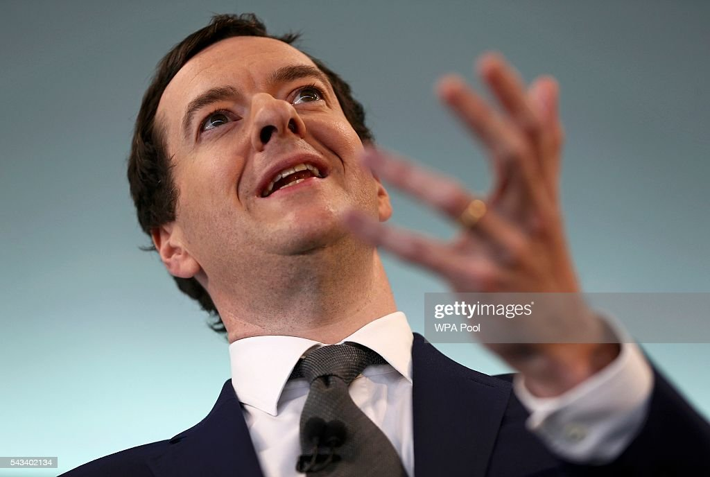 Britain's Chancellor of the Exchequer, <a gi-track='captionPersonalityLinkClicked' href=/galleries/search?phrase=George+Osborne&family=editorial&specificpeople=5544226 ng-click='$event.stopPropagation()'>George Osborne</a>, speaks at The Times CEO summit on June 28, 2016 in London, England.
