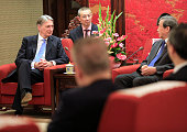 Britain's Chancellor of the Exchequer Philip Hammond and Chinese VicePremier Ma Kai attend a meeting at Zhongnanhai Leadership compound in Beijing on...