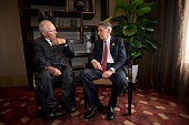 Britain's Chancellor of the Exchequer Philip Hammond right chats with Wolfgang Schauble Geramny's Federal Minister of Finance before a private lunch...