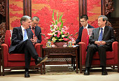 Britain's Chancellor of the Exchequer Philip Hammond speaks with Chinese VicePremier Ma Kai during their meeting at Zhongnanhai Leadership compound...