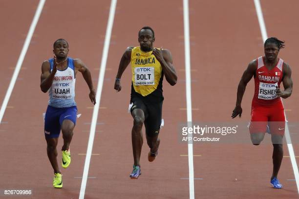 Britain's Chijindu Ujah Jamaica's Usain Bolt and Bahrain's Andrew Fisher compete in the semifinals of the men's 100m athletics event at the 2017 IAAF...