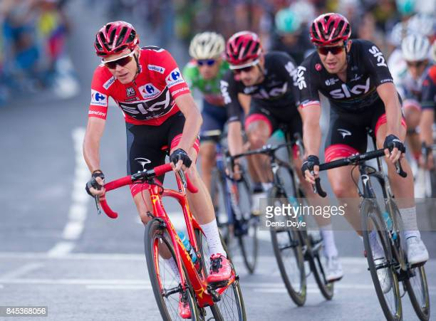 Britain's Chris Froome of Team Sky in the Vuelta a Espana cycling race after Stage 21 on September 10 2017 in Madrid Spain