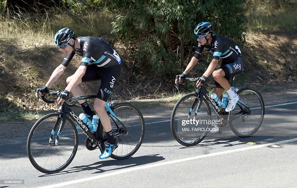 Britain's Chris Froome of Team Sky (L) leads teammate Sebastian Henao Gomez of Colombia during stage four of the 2016 Herald Sun Tour cycling race at Arthurs Seat in Victoria on February 7, 2016. AFP PHOTO / MAL FAIRCLOUGH FAIRCLOUGH