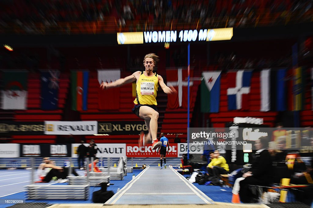 Britain's Chris Tomlinson competes in the men's long jump event during the XL Galan Stockholm Indoor Athletics meeting on February 21, 2013 at the Ericsson Globe Arena in Stockholm. AFP PHOTO/JONATHAN NACKSTRAND