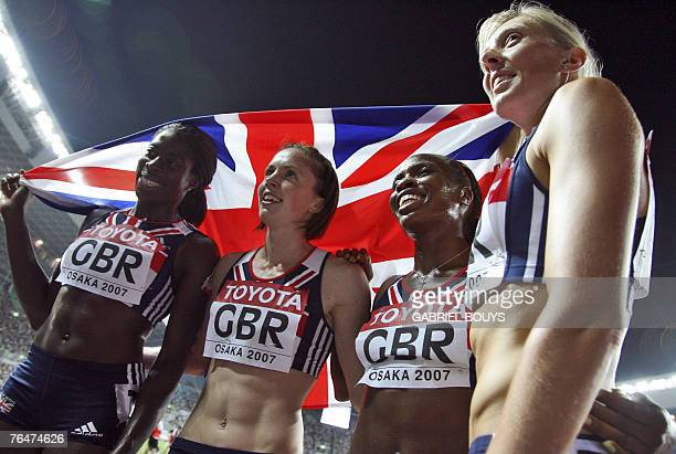 Britains Christine Ohuruogu Marilyn Okoro Lee Mcconnell and Nicola Sanders celebrate after the women's 4x400m relay final 02 September 2007 at the...