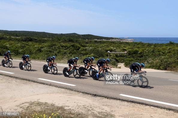 Britain's Christopher Froome and his teammates from the Sky Procycling team ride during a training session on June 27 2013 in PortoVecchio on the...