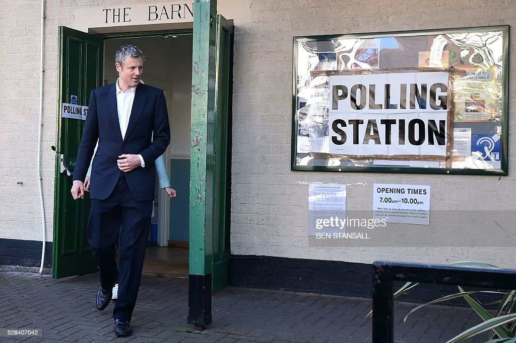 Britain's Conservative party candidate for London Mayor Zac Goldsmith leaves a Polling Station in south-west London on May 5, 2016, after casting his vote. Londoners go to the polls on Thursday to elect their new mayor following a bitter campaign between the two leading candidates, Goldsmith, and Labour's Sadiq Khan, that stayed ugly to the very end. / AFP / BEN