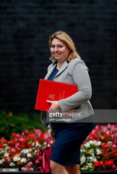 Britain's Culture Media and Sport Secretary Karen Bradley arrives at Downing Street for the weekly meeting of the cabinet in London on October 17...