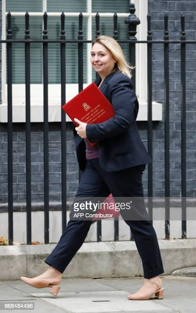 Britain's Culture Media and Sport Secretary Karen Bradley arrives at 10 Downing Street for the weekly meeting of the cabinet in central London on...