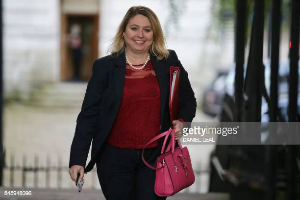 Britain's Culture Media and Sport Secretary Karen Bradley arrives to attend the weekly meeting of the cabinet at Downing Street in central London on...