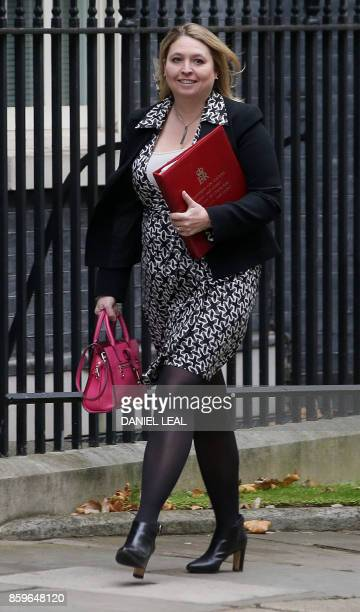 Britain's Culture Media and Sport Secretary Karen Bradley arrives to attend a Cabinet meeting at 10 Downing Street in central London on October 10...