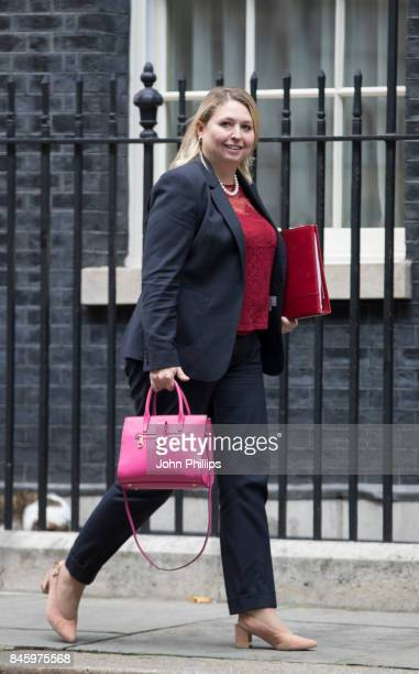 Britain's Culture Media and Sport Secretary Karen Bradley departs Downing Street after the weekly cabinet meeting at 10 Downing Street on September...