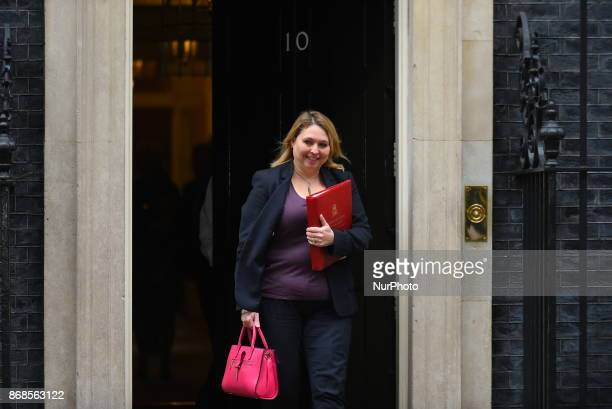Britain's Culture Media and Sport Secretary Karen Bradley leaves 10 Downing Street after the weekly meeting of the cabinet in central London on...