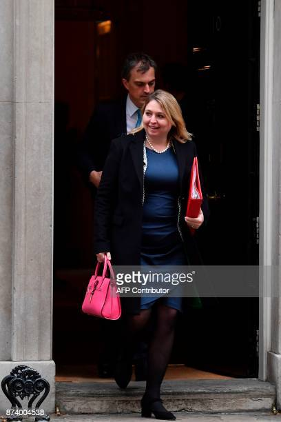 Britain's Culture Media and Sport Secretary Karen Bradley leaves 10 Downing Street after attending the weekly meeting of the Cabinet in central...
