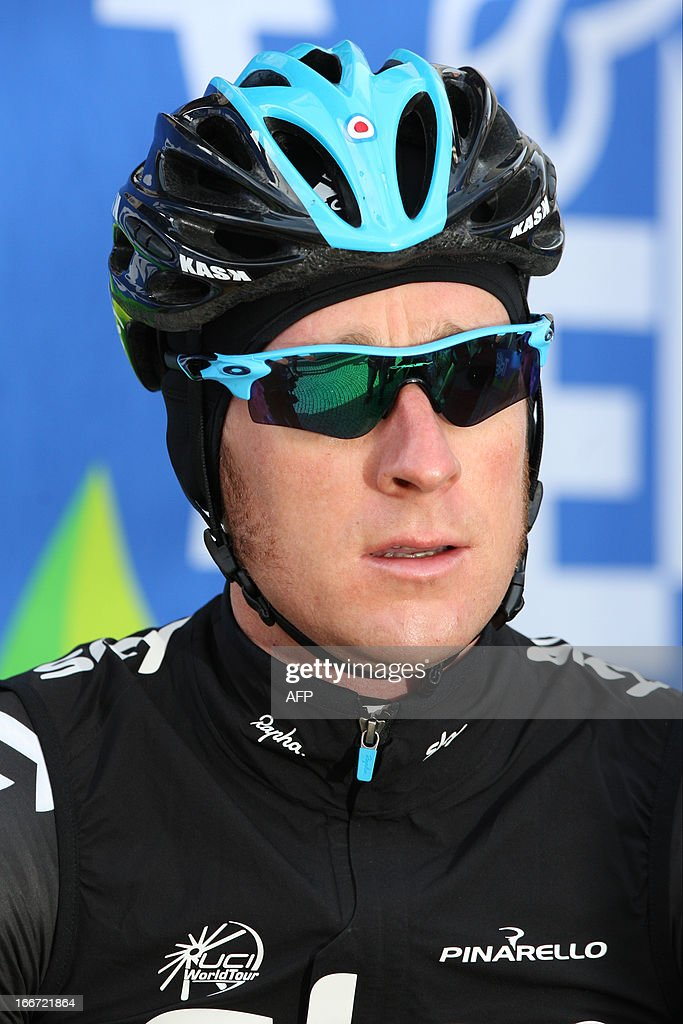 Britain's cyclist Bradley Wiggins of Sky Procycling Team attends the signature ceremony before the start of the cycling road race 'Giro del Trentino' in Lienz, on April 16, 2013. AFP PHOTO / PIERRE TEYSSOT