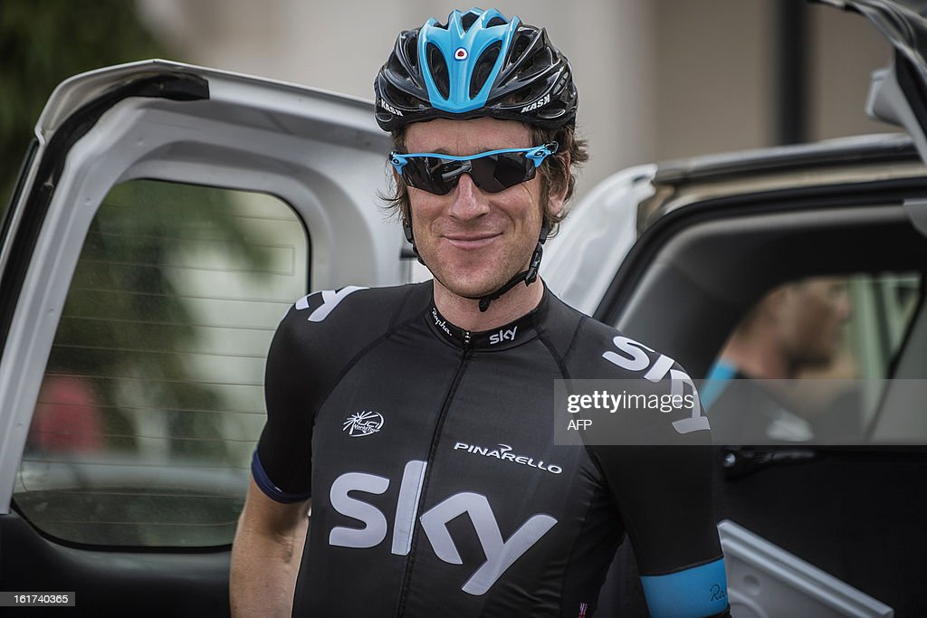 Britain's cyclist Bradley Wiggins of Sky Procycling Team poses before the start of the fifth stage of the cycling Tour of Oman on February 15, 2013, in the Omani capital Muscat. The fifth stage is a 144km ride from Al Alam Palace in Muscat to the Ministry of Housing in Boshar.