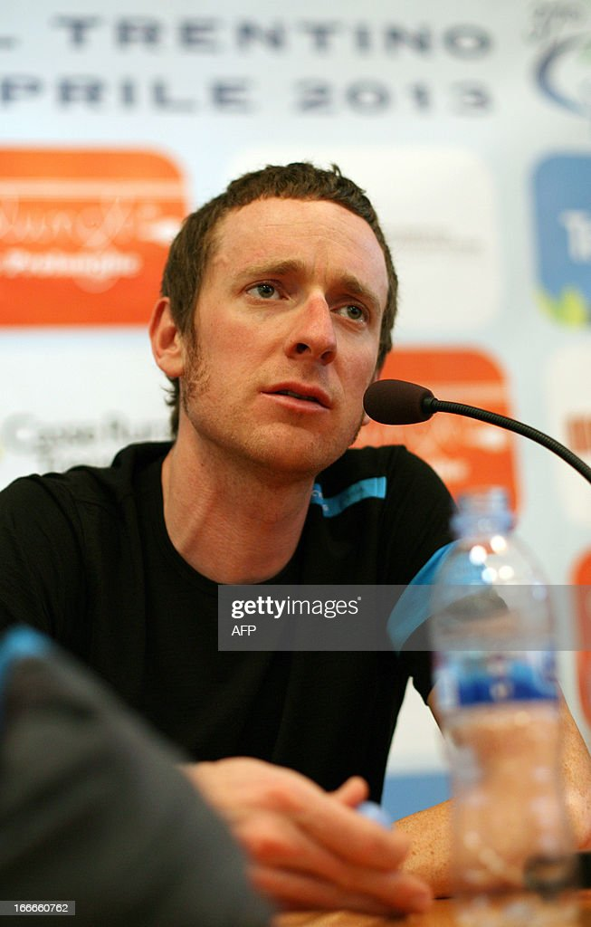 Britain's cyclist Sir Bradley Wiggins of Sky Procycling Team attends a cycling road race 'Giro del Trentino' press conference at the city hall in Lienz, on April 15, 2013.
