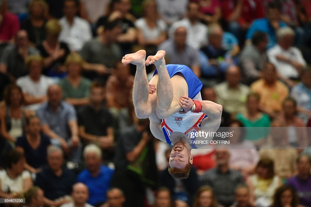 Britain's Daniel Purvis performs during the Mens Floor competition of the European Artistic Gymnastics Championships 2016 in Bern, Switzerland on May 28, 2016. / AFP / FABRICE