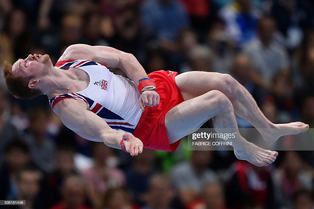Britains Daniel Purvis performs during the Mens Floor competition of the European Artistic Gymnastics Championships 2016 in Bern, Switzerland on May 29, 2016. / AFP / FABRICE