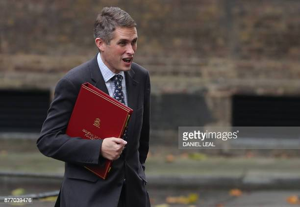 Britain's Defence Secretary Gavin Williamson arrives at 10 Downing Street in central London on November 21 2017 Senior British ministers have agreed...