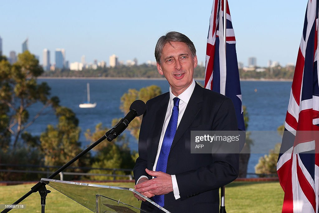 Britain's Defence Secretary Philip Hammond addresses guests during a state reception at the annual Australia-United Kingdom Ministerial meetings (AUKMIN) in Perth on January 18, 2013. Australia on January 18 signed a defence treaty with former colonial power Britain designed to further boost cooperation on military and security issues. AFP PHOTO / POOL / Paul Kane