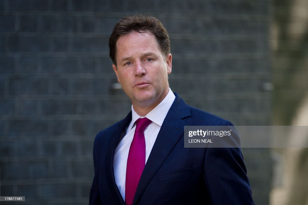 Britain's Deputy Prime Minister Nick Clegg arrives at 10 Downing Street in central London on August 29, 2013 ahead of a Cabinet meeting to discuss a response to Syria following chemical attacks that Britain believe were launched by the Syrian regime. British lawmakers were on August 29, set to vote on Britain's response to chemical weapons attacks in Syria -- but any military action will require a second parliamentary vote.
