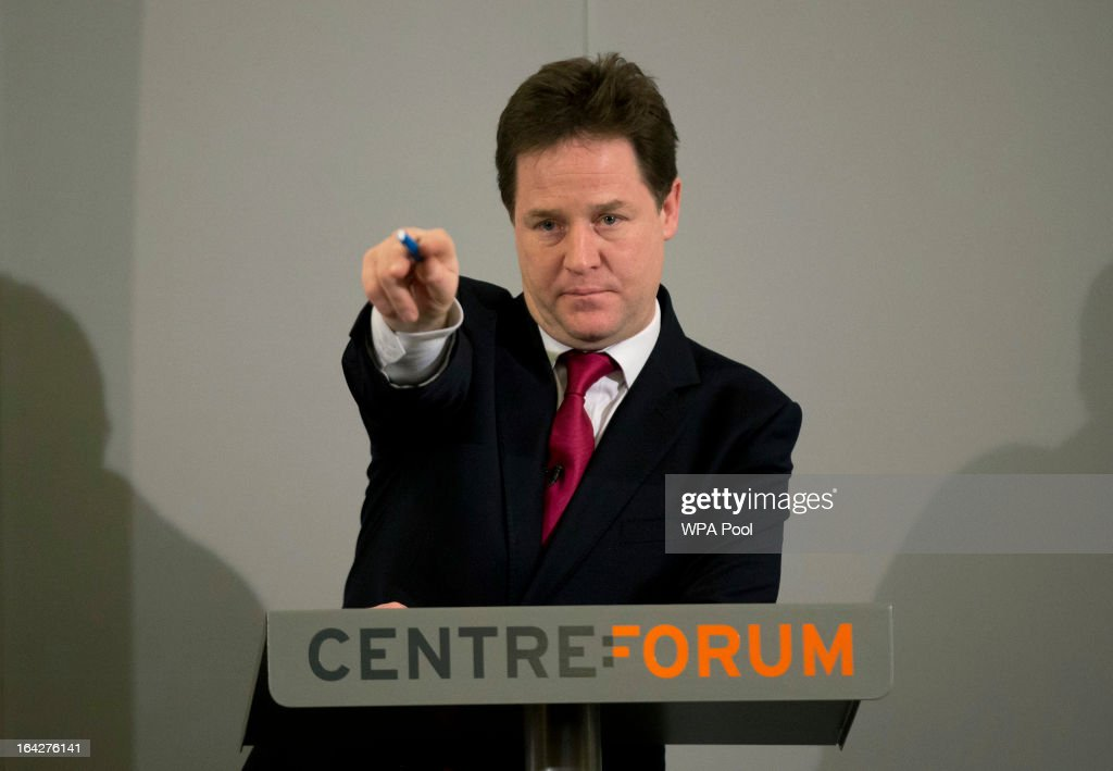 Britain's Deputy Prime Minister <a gi-track='captionPersonalityLinkClicked' href=/galleries/search?phrase=Nick+Clegg&family=editorial&specificpeople=579276 ng-click='$event.stopPropagation()'>Nick Clegg</a> gestures as he takes questions from journalists after making a speech on immigration on March 22, 2013 in London, England. <a gi-track='captionPersonalityLinkClicked' href=/galleries/search?phrase=Nick+Clegg&family=editorial&specificpeople=579276 ng-click='$event.stopPropagation()'>Nick Clegg</a> makes his first speech on immigration as Deputy Prime Minister and is expected to call for the development of a system for UK visa applicants from 'high risk' countries to pay a security bond as a way of tackling the current abuse of the immigration visa.