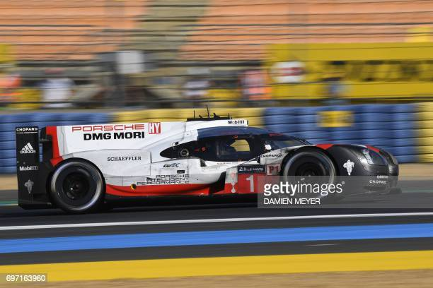 TOPSHOT Britain's driver Nick Tandy drives his Porsche 919 Hybrid N°1 during the 85th Le Mans 24hours endurance race on June 18 2017 in Le Mans...