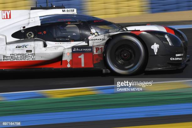 Britain's driver Nick Tandy drives his Porsche 919 Hybrid N°1 during the 85th Le Mans 24hours endurance race on June 18 2017 in Le Mans western...