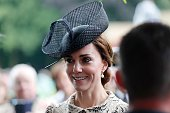 Britain's Duchess Catherine of Cambridge reacts as she attends the memorial ceremony on July 1 at the Thiepval Memorial in Thiepval during which...