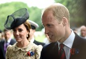 Britain's Duchess of Cambridge Catherine and Britain's Prince Harry attend the memorial ceremony on July 1 in Thiepval during which Britain and...