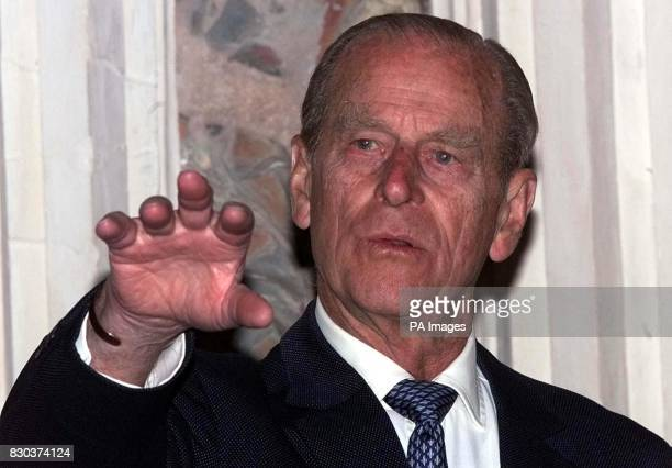 Britain's Duke of Edinburgh after he accepted the 1999 Europa Nostra Medal from Andrea Schuler Chairman of the Judging Panel at a ceremony held at...