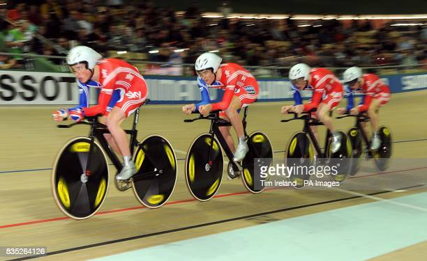 Britain's Ed Clancy Steven Burke Peter Kennaugh and Jonny Bellis ride to fourth in the Team Pursuit during the 2009 UCI World Track Cycling...