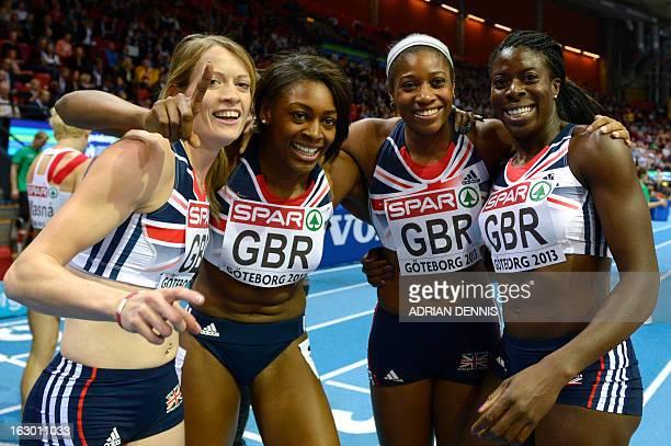Britain's Eilidh Child Perri ShakesDrayton Shana Cox and Christine Ohuruogu celebrate winning the 4x400m Woman's Relay Final at the European Indoor...