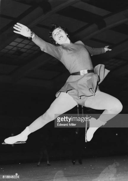 Britain's Erica Batchelor performs a stag jump at Streatham Ice Rink in London 9th December 1954 She is training for the British amateur figure...