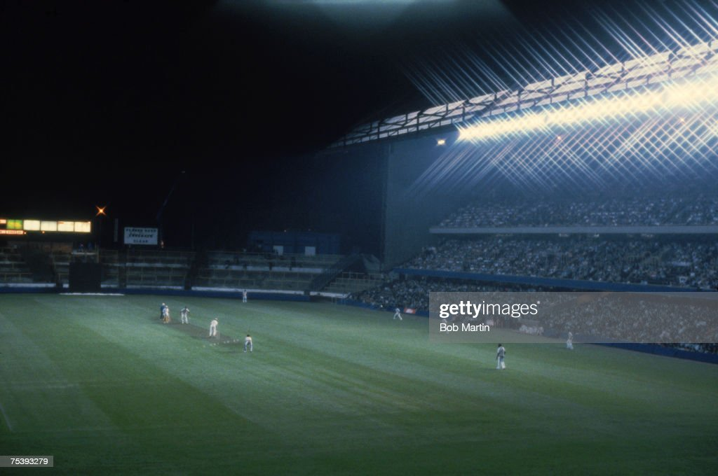 Britain's first floodlit cricket match takes place between Essex and the West Indies at Chelsea FC's Stamford Bridge ground London August 1980