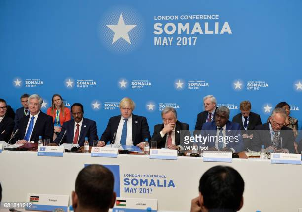 Britain's Foreign Secretary Boris Johnson and United Nations Secretary General António Manuel chair the London Conference on Somalia at Lancaster...