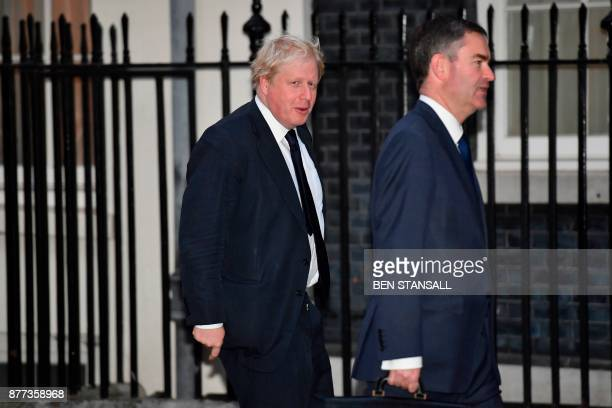 Britain's Foreign Secretary Boris Johnson arrives at 10 Downing Street for a prebudget meeting of the cabinet in London on November 22 2017 Britain's...