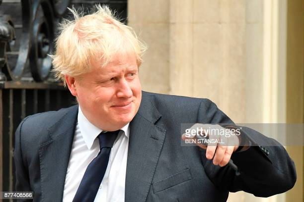 Britain's Foreign Secretary Boris Johnson leaves 10 Downing Street after a prebudget meeting of the cabinet in London on November 22 2017 Britain's...