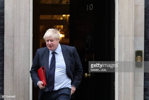 Britain's Foreign Secretary Boris Johnson leaves 10 Downing Street in central London on November 21 2017 Senior British ministers have agreed to...