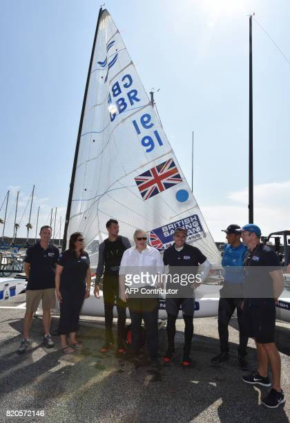 Britain's Foreign Secretary Boris Johnson meets with members of the British Olympic sailing team in Hayama Kanagawa prefecture on July 22 2017...