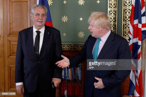 Britain's Foreign Secretary Boris Johnson meets with the President of the Czech Republic Milos Zeman at the Foreign and Commonwealth Office in...