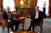 Britain's Foreign Secretary Boris Johnson meets with US Secretary of State John Kerry at the Foreign and Commonwealth Office on July 19 2016 in...